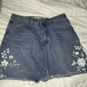 Primark Floral Denim Skirt